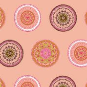 Inprint Folk - 4038 - Applique Circles - Peach - 8946 N38 - Cotton Fabric